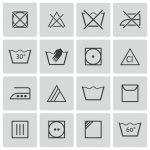 Symbole Wäsche waschen